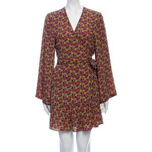A.L.C. Whitney Floral Silk Wrap Dress Bell Sleeve
